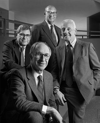 """(Clockwise from front center) Robert Geddes, Mel Brecher, George Qualls, Warren """"Barney"""" Cunningham"""